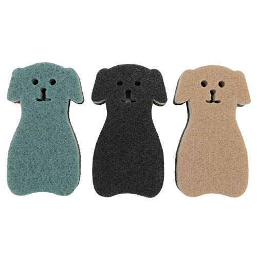 HB Kitchen Sponges Puppy Shape, Double-Sided Cleaning Dish Sponge for Kitchen, Bathroom (Set of 3)