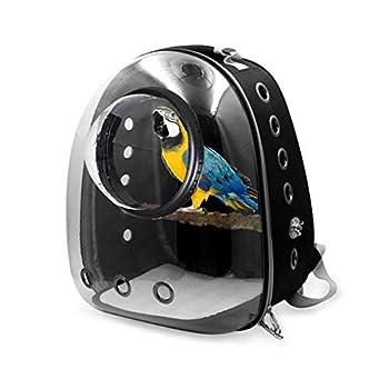 LWYJ Pet Carrier Oiseau, Cage Voyage Transport Sac à Dos Espace extérieur Transparent Capsule Box pour Parrot Petits Oiseaux Animaux,Noir