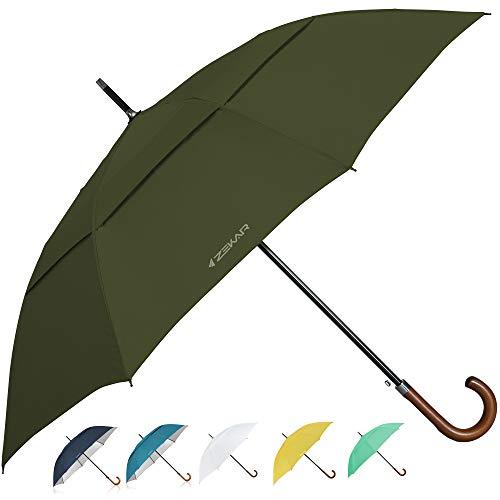 """ZEKAR Wooden J-Handle Umbrella, 54/62 / 68 inch, UV & Classic Versions, Large Windproof Stick Umbrella, Auto Open for Men and Women Golf Umbrella (Olive, 62"""")"""