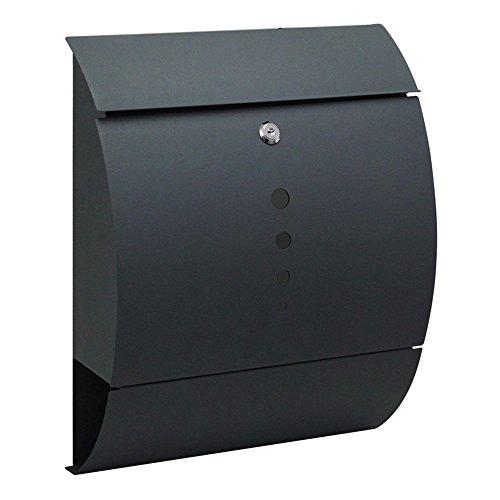 LZQ Elegantem Arc Design Edelstahl Briefkasten, Wandbriefkasten mit Zeitungsfach, A4 Einwurf-Format, Abschließbar mit 2 Schlüssel (B Type)