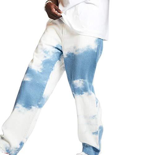 HUAZONG Herren-Jeans, gerades Bein, Jogging-Hose, Stretch-Hose, Reißverschluss vorne, Chinos, Batikfärbung, normale Passform, klassische Jeanshose, Herren, JZS-MENS JEANS-09, hellblau, M