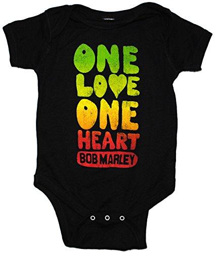 Bob Marley One Love corazón para bebé Pelele de Snapsuit - Negro -