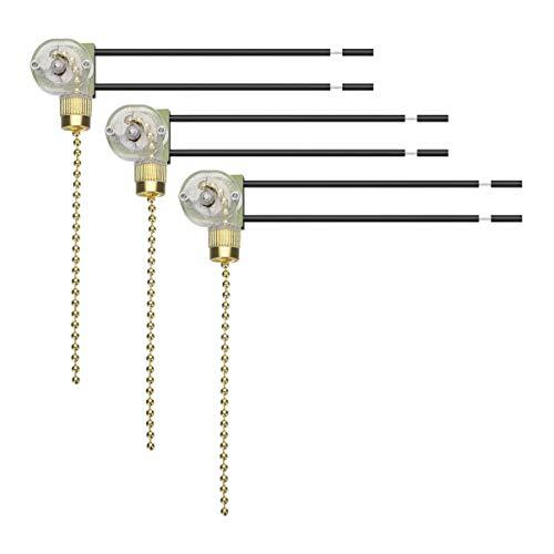 OSALADI - 3 ventiladores de techo, cadenas de tracción, iluminación dorada, repuesto interruptor de tirador, interruptor de encendido/apagado, cable accesorios para plafón, aplique de pared