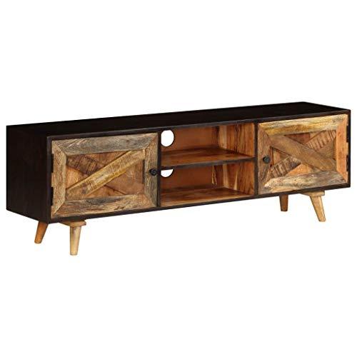 mewmewcat TV-Schrank   Vintage Fernsehtisch Retro Fernsehschrank TV Lowboard Tisch Holz TV Board 140x30x45 cm Massivem Mangoholz