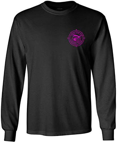 Joe's USA Koloa Surf Long Sleeve Marlin Logo Heavy Cotton T-Shirt-Black/Pink-XL