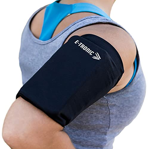 E Tronic Edge Phone Holder for Running - Cell Phone Arm Bands with Reflective Logo - Phone Strap Armband Fits iPhone and Android - Use for Running, Walking, Hiking, and Biking - Black, Medium