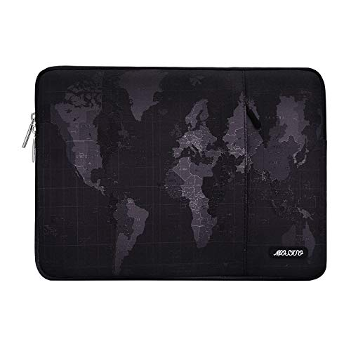 MOSISO Laptop Sleeve Compatible with 13-13.3 inch MacBook Pro, MacBook Air, Notebook Computer, Water Repellent Vintage Map Polyester Vertical Protective Carrying Case Cover Bag with Pocket, Black