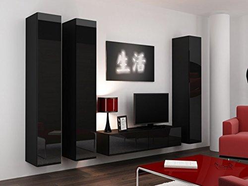 Jadella Wohnwand \' Vigo 14\' Hochglanz Hängeschrank Lowboard Cube, Farbe:Schwarz