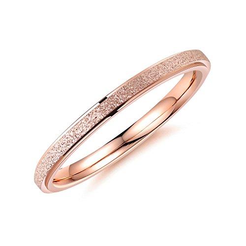 bigsoho Modeschmuck Damen Ring 2mm breit Edelstahl sandgestrahlt Ehering Verlobungsring Trauring Geschenk (Rosegold, 52 (16.6))