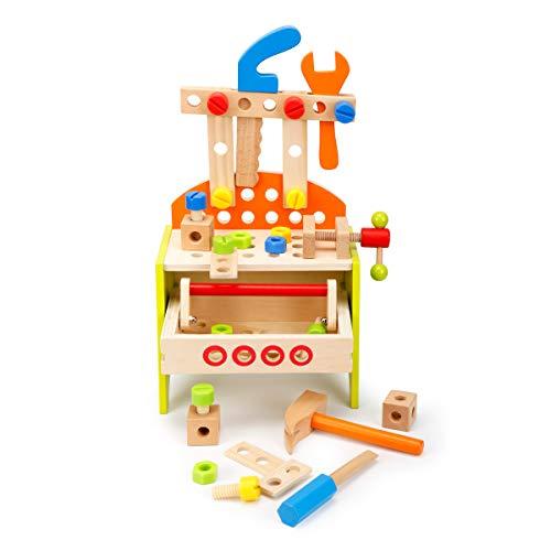 ROBOTIME Arbetsbänk Träverktyg Lådset för barn med lådor, hammare, skiftnyckel förskola låtsas leka leksaker för 3 4 5 år