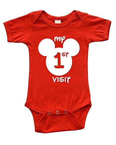 Short Sleeve Onesie w/My First Disney Visit, Red, 3-6m
