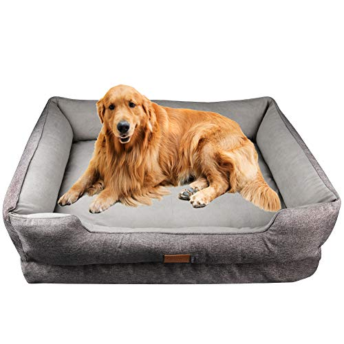 Onarway Dog Bed for Puppy Doggie Luxurious Short Granular velvet Pet Sofa Soft Breathable Full Cotton With Detachable Cotton Cushion (XL (90cmx68x26cm))