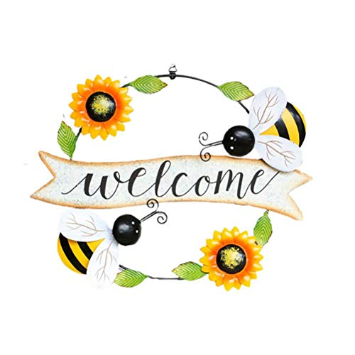 Hspemo Cartel de bienvenida, decorativo, colgante de metal, placa familiar, girasol, decoración de pared, para bar, cafetería, tienda, puerta, decoración