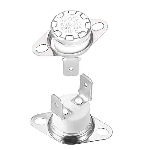 sourcing map KSD301 Thermostat, 210 °C, 10 A, normal geschlossen, N.C einstellbar, 2 Stück