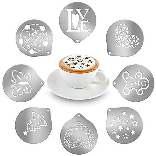 volila Kaffee Schablone aus Edelstahl, Kaffee Zubehör für Puderzucker und Kakaostreuer für...