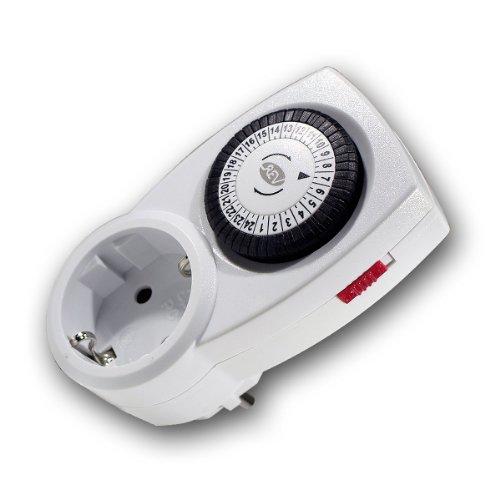REV Ritter | Zeitschaltuhr mechanisch, klein und kompakt | 24h Modus | bis zu 48 Schaltzeiten am Tag | Schaltabstand 30 Min. | mit seitlichem Ein- und Ausschalter | max. Schaltleistung 3680W