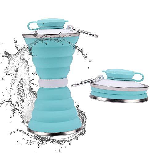 JackWish Botella Deportiva de Silicona Plegable - sin BPA, aprobada por la FDA, portátil, Reutilizable, a Prueba de Fugas, Adecuada para Exteriores, gimnasios, Viajes (Azul)