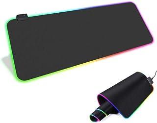 ماوس باد كبيرة الحجم 80 سم في 30 سم للماوس والكيبورد متعددة الإضاءة الليد - لون اسود