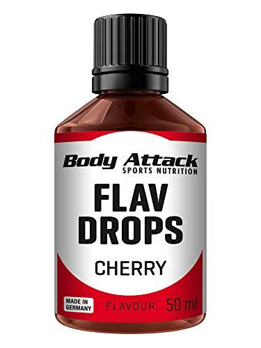 Body Attack Flav-Drops, Aroma für Lebensmittel, zuckerfrei, kalorienfrei, vegan Cherry (50ml)