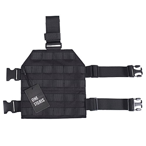 OneTigris Taktische Molle Beinplatte Beinplatform für Jagd/Paintball/Softair, 1000D Nylon (Schwarz)
