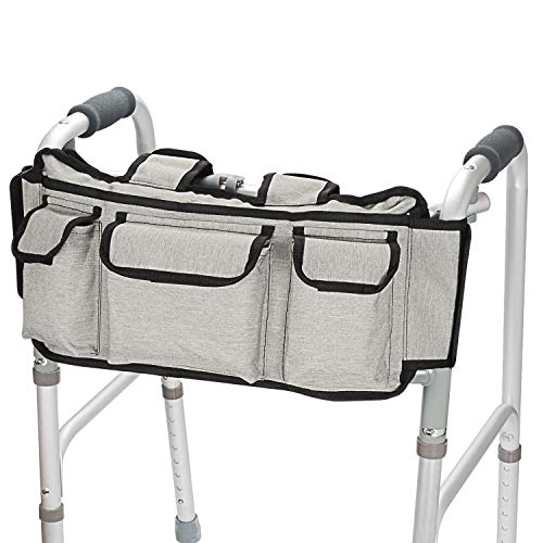 SupreGear Walker Bag, High Quality Folding Walker Basket Organizer Pouch Tote for Any Walker Style Rollator and Wheelchair (Grey)