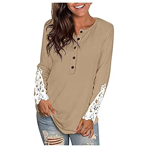 Allegorly Tunika Damen Tshirt Langarm Longshirt Shirt Lockere Blusen Oberteile Frauen Bluse Hemdbluse O-Ausschnitt Kariert Bluse Hemd Casual T-Shirt Tops