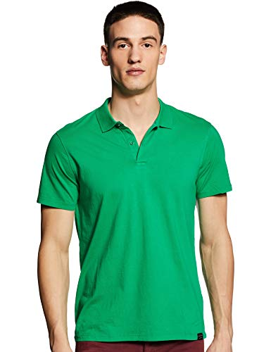 Scotch & Soda Classic Logo Jersey Polo, Verde (Paradise Green 0896), Small Uomo