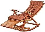 TGTGH Sonnenliege, Gartenstühle, zusammenklappbar, Schaukelstuhl, tragbar, aus Bambus, für alte Männer, einfacher Stuhl mit einziehbarer Fußstütze und Fußmassagebällen (Farbe, Blau), Braun