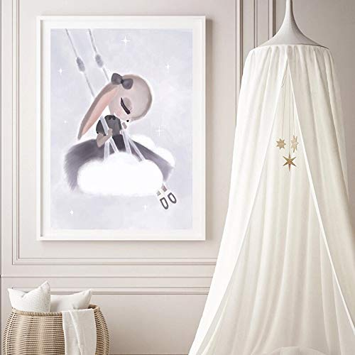 ganlanshu Cartel de Canguro de Koala de Acuarela de Dibujos Animados Cartel nórdico y Mural Impreso en Lienzo,Pintura sin Marco,60X80cm