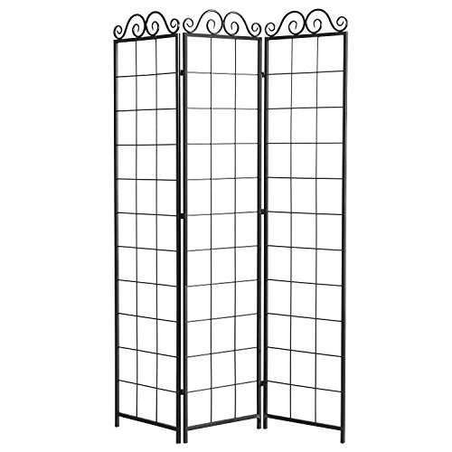 3 Panel Black Metal Wire Trellis Divider Screen (Hanging Planters not Included)