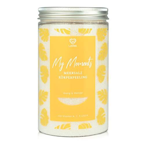 LoWell® 500g Körperpeeling aus Meersalz für Dusche und Sauna - Peeling mit pflegendem Jojobaöl - Body Scrub - Honig & Mandel