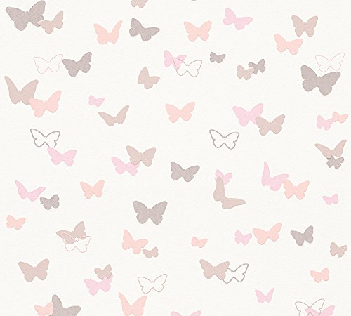 Esprit Kids Vliestapete Sweet Butterfly Tapete Kindertapete 10,05 m x 0,53 m beige rosa weiß Made in Germany 302891 30289-1