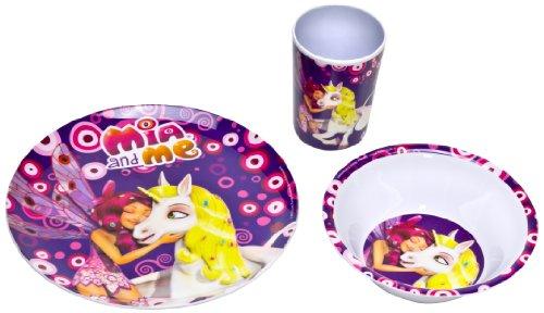 Mia et Moi – Mélamine de table Petit Déjeuner (3 pcs) Assiette Tasse Bol