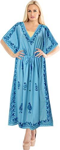 LA LEELA Mujeres caftán Rayón túnica Bordado Kimono Libre tamaño Largo Maxi Vestido de Fiesta para Loungewear Vacaciones Ropa de Dormir Playa Todos los días Cubrir Vestidos Azul_T355