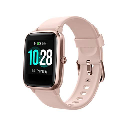 Montre Connectée Femmes,Montre Intelligente Homme IP68Etanche Bracelet Connecté Cardio Podometre Smartwatch Sport Fitness Tracker d'Activité Contrôle de la Musique pour Android iPhone (Poudre)