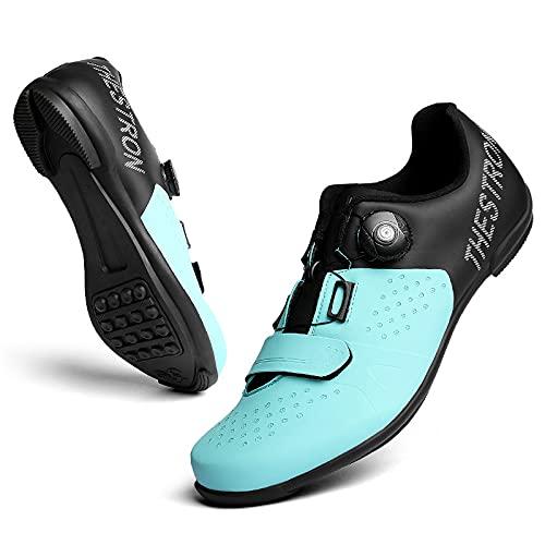 KUXUAN Zapatillas de Ciclismo Sin Bloqueo, con Botones Giratorios,Antideslizante y Resistente Al Desgaste,Adecuado para Ciclismo Al Aire Libre,Autoayuda en Carretera,Blue-42EU