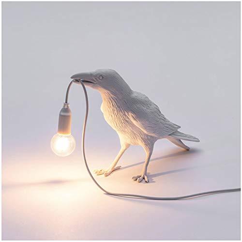 MEILINL Lámpara De Mesa De Espera con Forma De Pájaro Lámpara De Escritorio De Cuervo De Resina Lámpara De Noche Aplique De Pared con Interruptor Y Enchufe,Blanco,1