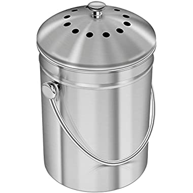 Utopia Kitchen Premium Quality Stainless Steel Compost Bin 1.3 Gallon, Includes Charcoal Filter