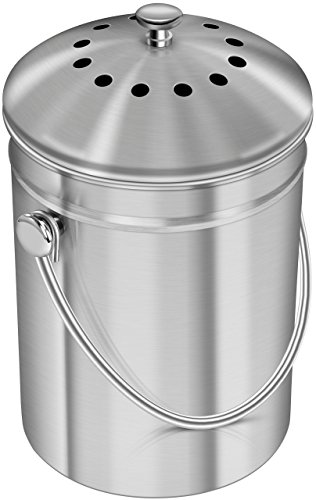 Utopia Kitchen Stainless Steel Compost Bin for Kitchen Countertop - 1.3 Gallon Compost Bucket for Kitchen with Lid - Includes 1 Spare Charcoal Filter