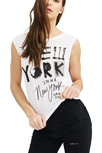 trueprodigy Casual Mujer Marca Camiseta De Tirantes con impresión Estampada Ropa Retro Vintage Rock Vestir Moda Cuello Redondo Sin Manga Slim Fit Designer Fashion Top, Colores:White, Tamaño:XS