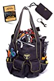 Teutonic Tools gives you a Resting Place with ECO Bucket Tool Bag Organizer - 21 Large Pockets - NO PLASTIC PAIL REQUIRED - Use With or Without - Bonus Items - Small Tool Bag, Wrench Keychain & eBook
