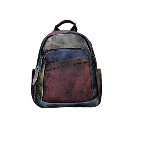 Leather New Ladies Backpack, The First Layer of Leather, Handmade Color Stitching, Retro Fashion Casual Ladies Backpack