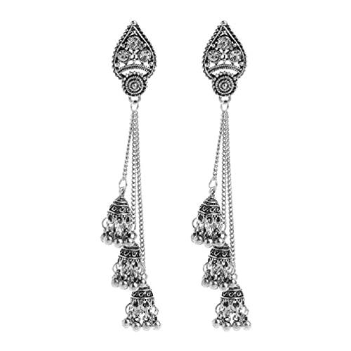 SHAOKAO Borla Jhumka indio étnico Bollywood cadena larga pendientes colgantes joyería moda pendientes pendientes pendientes para piercing