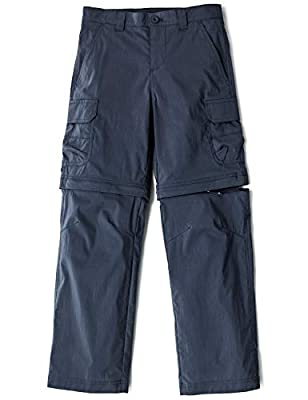 CQR Kids Youth Hiking Cargo Pants, UPF 50+ Quick Dry Convertible Zip Off/Regular Pants, Outdoor Camping Pants, Boy Convertible(bxp432) - Navy, 10-12 Medium