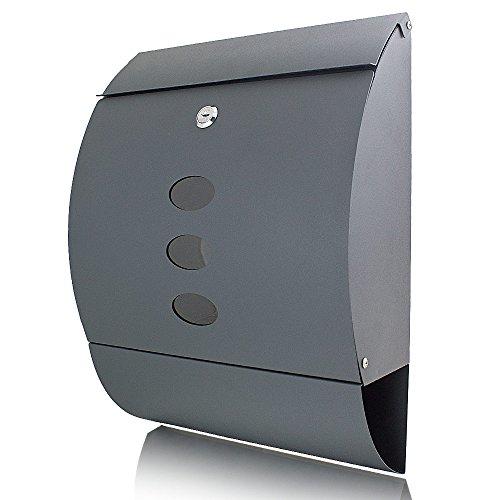 BITUXX® Briefkasten grau anthrazit halbrund Postbriefkasten Wandbriefkasten Zeitungsfach
