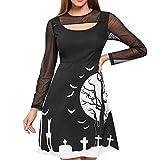Aiserkly Damen Halloween Party Kleid Patchwork Print Langarm knielangen Kleid Vintage Swing Dress...