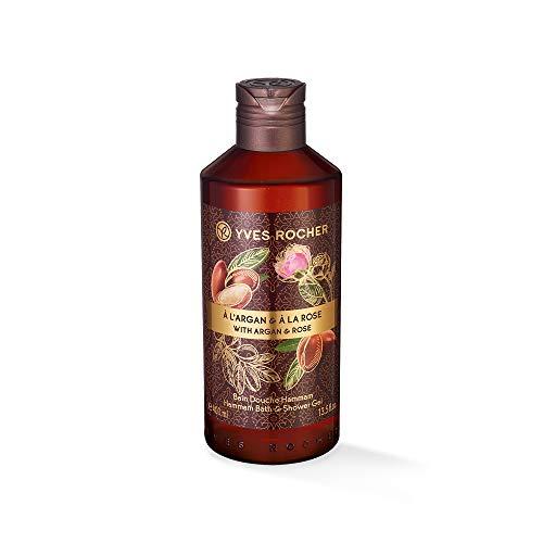 Yves Rocher LES PLAISIRS NATURE Duschbad Hammam Arganöl-Rosenwasser, Aroma-Schaumbad & pflegendes Duschgel, 1 x Flacon 400 ml