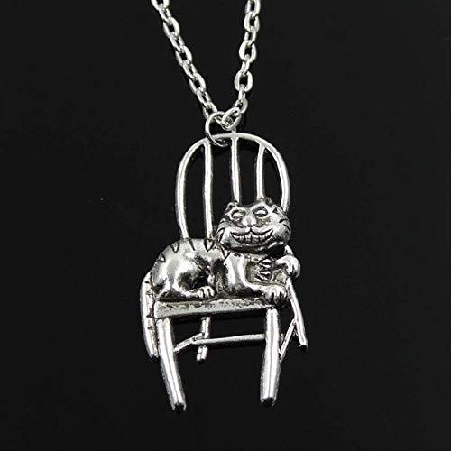 Einfache klassische Mode faule Katze im Stuhl liegend antike silberne Farbe Anhänger Mädchen kurze lange Kette Halsketten Schmuck für Frauen