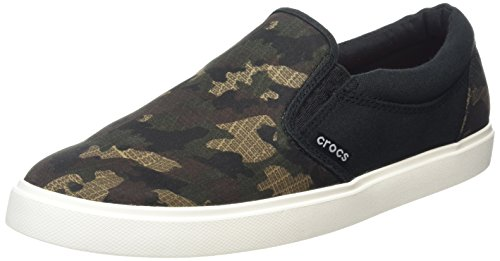 Crocs CitiLane Graphic Slip-on Sneaker, Hombre Zapatilla, Verde (Camo/Black), 43-44 EU