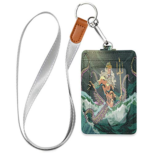 Poseidon Sea Octopus Job Card Badge Holders, PU Leather Waterproof Employee ID Card Badge Holder Wallet Case with 3 Cards Capacity Slots and 15.7 Inch Neck Lanyard/Strap, 4.3×2.8×0.3 in